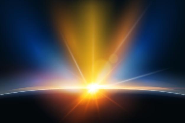Leuchtender sonnenaufgang lichteffekt