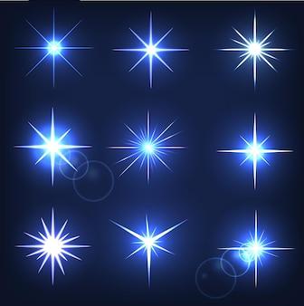 Leuchtender stern auf blauem grund