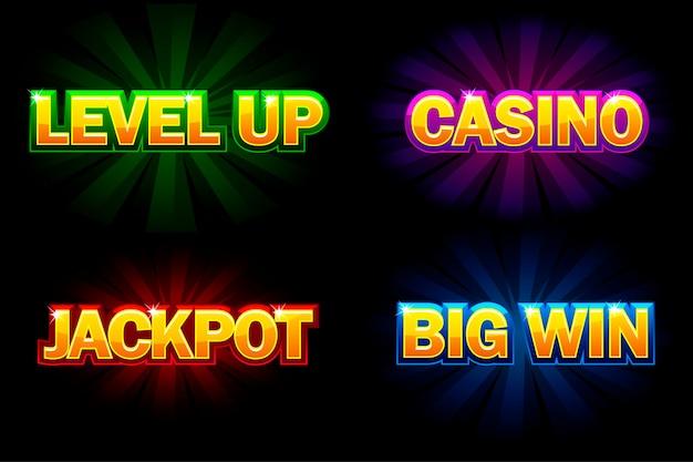 Leuchtender text casino, jackpot, big win und level up. symbole für casino, slots, roulette und spiel-benutzeroberfläche. auf getrennten schichten isoliert