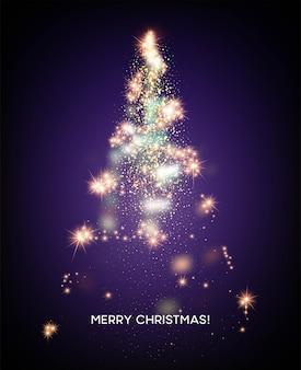 Leuchtender weihnachtsbaum. heller sternhintergrund. vektorillustration eps10