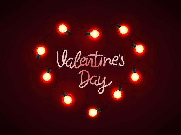 Leuchtendes herz und beschriftungsinschrift auf dunkelrotem hintergrund. valentinstag