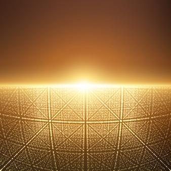 Leuchtendes licht mit illusion von tiefe und perspektive