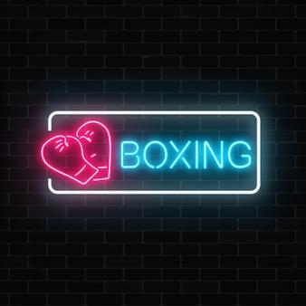 Leuchtendes neon-boxclub-zeichen im rechteckrahmen auf dunkler backsteinmauer fighting club-neonschild.