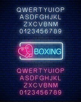 Leuchtendes neon-boxclub-zeichen im rechteckrahmen mit alphabet.