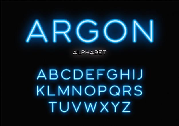Leuchtendes neon-peface. alphabet buchstaben schriftart