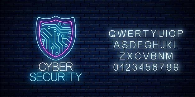 Leuchtendes neonschild der cyber-sicherheit mit alphabet auf dunkler backsteinmauer