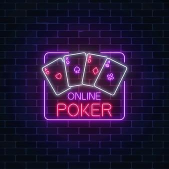 Leuchtendes neonschild der online-pokeranwendung im hellen rahmen des rechteckigen rahmenkasinos casino.