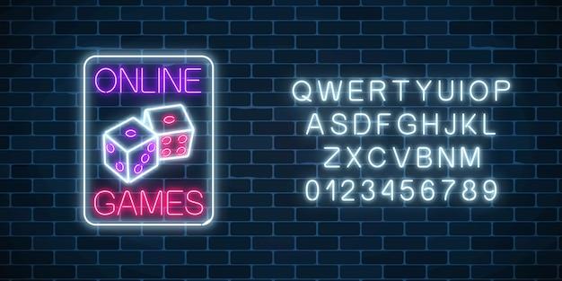 Leuchtendes neonzeichen der online-casino-anwendung mit würfelsymbol mit alphabet.