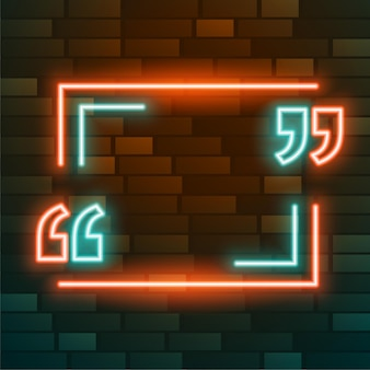 Leuchtendes rahmendesign mit anführungszeichen