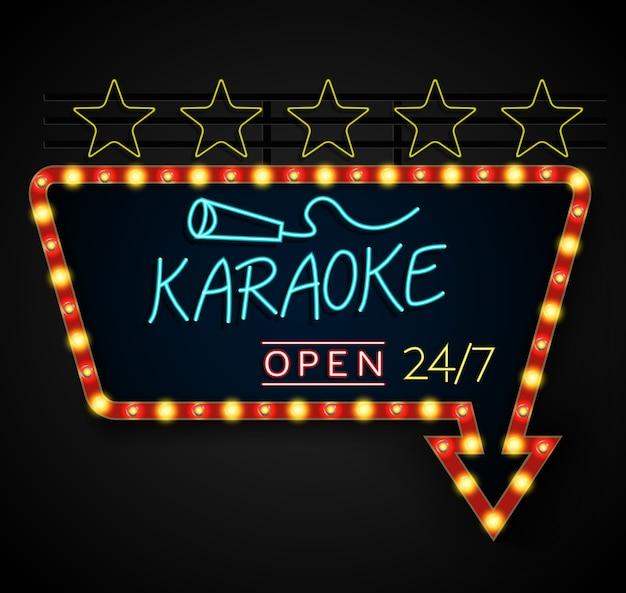 Leuchtendes retro- helles fahne karaoke auf einem schwarzen hintergrund