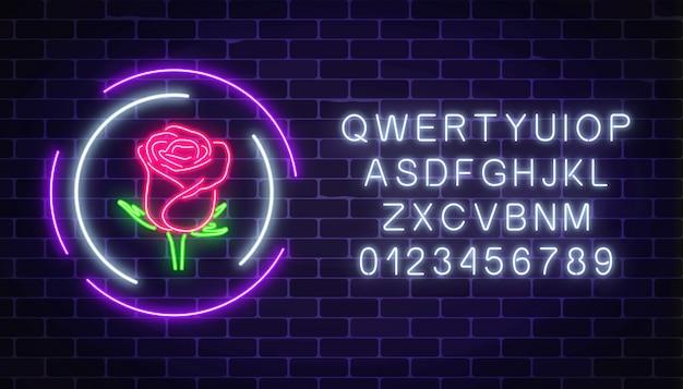 Leuchtendes rosen-neonzeichen des blumenladens