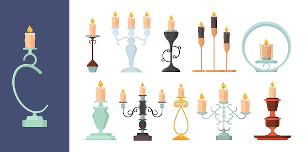 Leuchter. brennendes feuer auf kerzenhalter vintage metall kandelaber antike dekoration vektorsammlung. illustration kerzenlicht beleuchten, schmelzende kerzensammlung