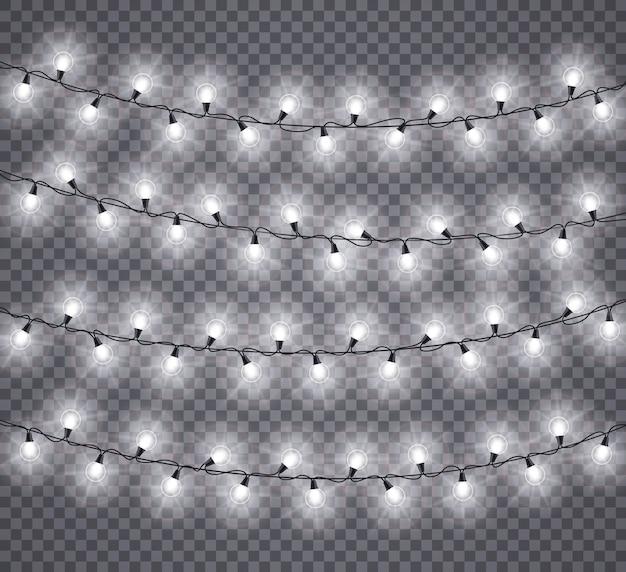 Leuchtet girlanden. glühende weiße lampen der weihnachtsfeier, weihnachtsfeiertagsbeleuchtungsdekor. isoliert für festliche grußkarten. glühende glühbirne auf schnurillustration