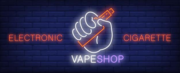Leuchtreklame der elektronischen zigarette. hand, die vape gerät hält.