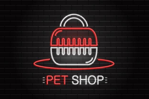 Leuchtreklame der haustierausrüstung für dekoration auf dem wandhintergrund. realistisches neonlogo für tierhandlung. konzept der veterinär- und tierpflege.