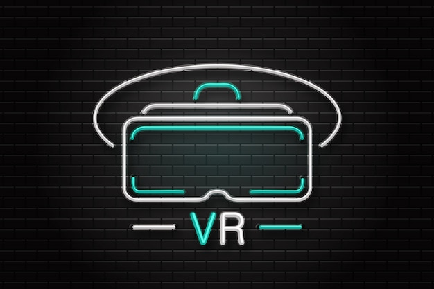 Leuchtreklame der vr-brille zur dekoration auf dem wandhintergrund. realistisches neon-logo für virtual-reality-unterhaltungserlebnis. konzept von spiel und cyberspace.