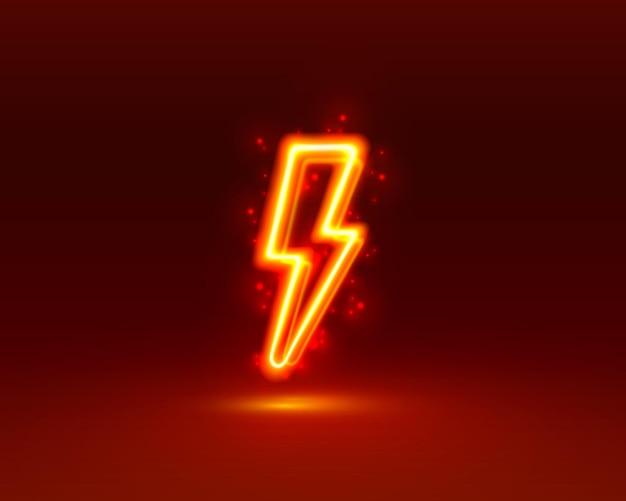 Leuchtreklame des blitzschildes auf rotem hintergrund