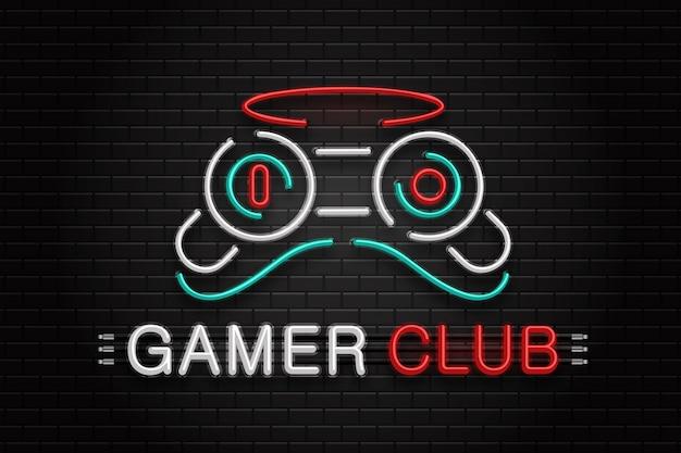 Leuchtreklame des controllers für die dekoration auf dem wandhintergrund. realistisches neon-logo für den spielerclub. konzept der spiel- und computerfreizeit.