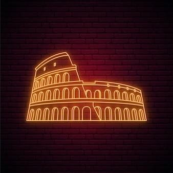 Leuchtreklame des kolosseums.
