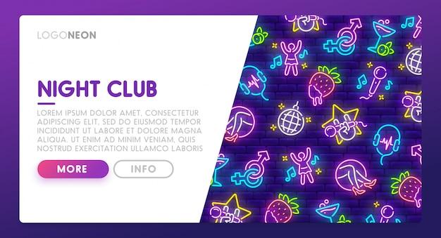 Leuchtreklame des nachtclubs. landing page