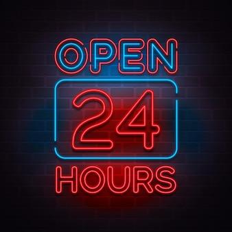 Leuchtreklame für 24 stunden geöffnet
