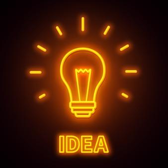 Leuchtreklame idee auf einem schwarzen hintergrund.