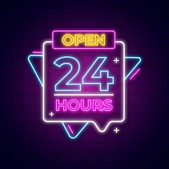 Leuchtreklame mit 24 stunden geöffnet