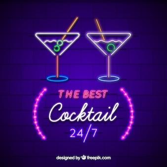 Leuchtreklame mit cocktail-form