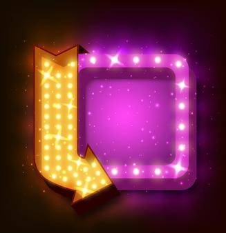 Leuchtreklame mit pfeil und leuchtenden lichtern
