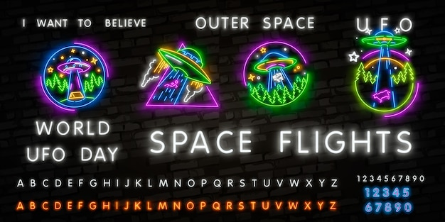 Leuchtreklame ufo. retro neon fliegende untertasse