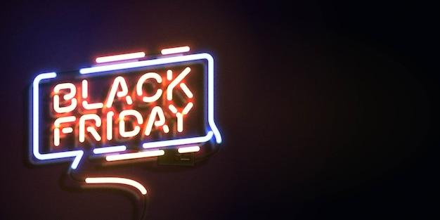Leuchtreklame von black friday mit kopierraum