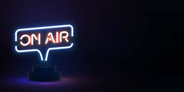 Leuchtreklame von on air mit kopierraum
