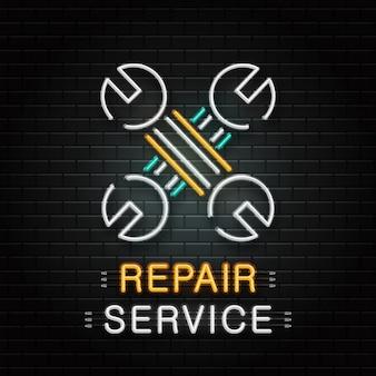 Leuchtreklame von schraubenschlüsselwerkzeugen zur dekoration auf dem wandhintergrund. realistisches neon-logo für den reparaturservice. konzept der mechanischen reparatur und autoreparatur.