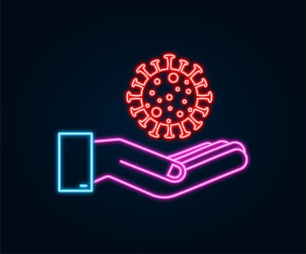 Leuchtreklame vorsicht coronavirus in den händen coronavirus-gefahr und risiko für die öffentliche gesundheit