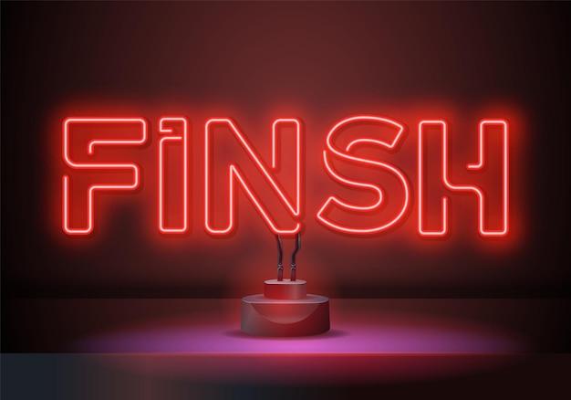 Leuchtreklamen fertigstellen. rennen, meisterschaftsdesign. nachthelle neonreklame, bunte plakatwand, helles banner. vektorillustration im neonstil.