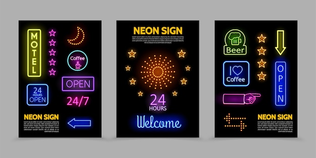 Leuchtreklamen werbeplakate mit beleuchteten rahmen bunte inschriften leuchtende sterne funkeln