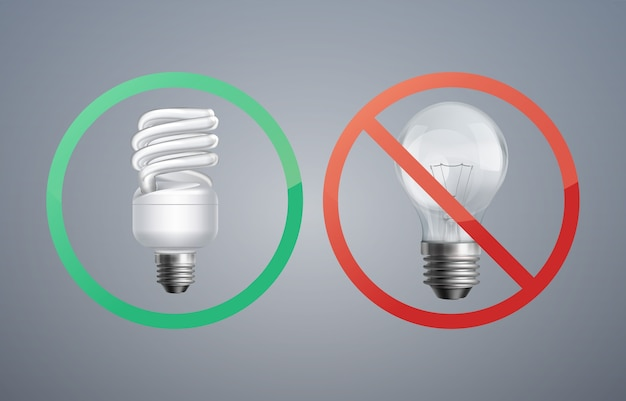 Leuchtstofflampe des vektorillustrationskonzepts gegen glühlampe zur energieeinsparung