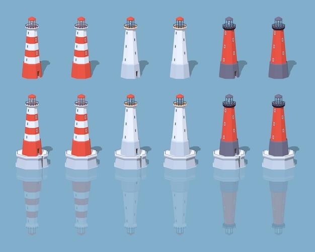 Leuchttürme lowpoly isometrische vektorillustration 3d.