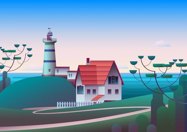 Leuchtturm am ufer mit meer und morgenhimmel im hintergrund