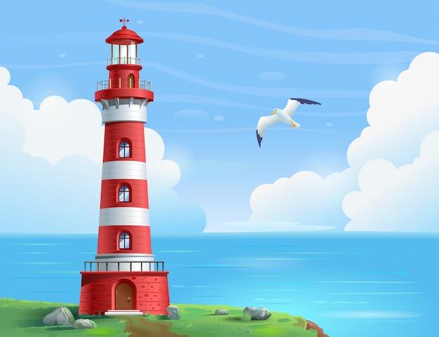 Leuchtturm auf see an einem sonnigen tag. ein leuchtturm steht auf einem felsen