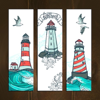 Leuchtturm-banner-set