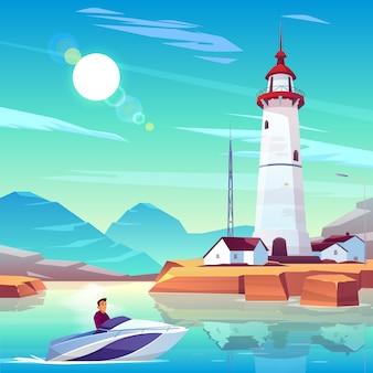 Leuchtturm im hafen und motorboot mit dem mann, der durch wohnungen und turm überschreitet, stehen auf felsiger küste am sonnigen tag