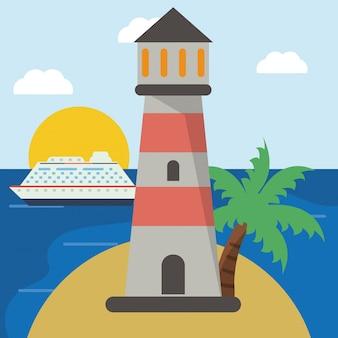 Leuchtturm kreuzfahrt strand sonne