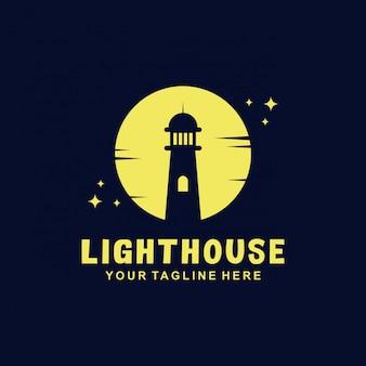 Leuchtturm-logo-design mit flachem stil