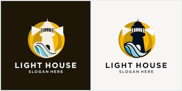 Leuchtturm-logo-design-vorlage mit meerwasserelementen monoline-logo-leuchtturm-umriss