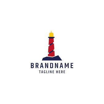 Leuchtturm logo design vorlage premium vektor