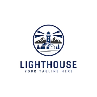 Leuchtturm logo design vorlage