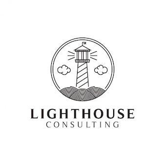 Leuchtturm-logo mit einem schlichten, minimalistischen strichgrafik-design für die zwecke ihres firmenlogos.