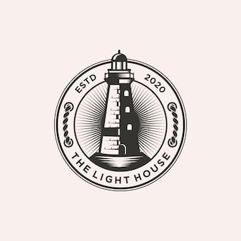 Leuchtturm-logo-schablonenillustration