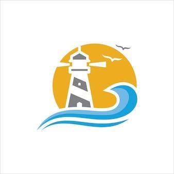 Leuchtturm, marinelogokonzept, sonnenuntergangillustration